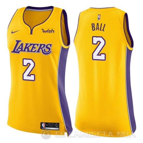 Camiseta Lonzo Ball #2 Los Angeles Lakers Mujer Nike Icon 2017-18 Amarillo